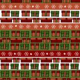 Klassisches Weihnachten farbig, Rot, Grüne und weiße Geschenkbox seamles stock abbildung