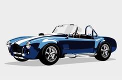 Klassisk AC Shelby Cobra Roadster för sportblåttbil vektor illustrationer