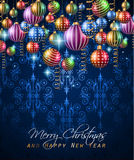 Klassisk bakgrund för jultappning med bollar och stjärnaljus stock illustrationer