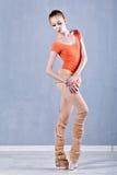 Klassisk balett som utförs av en slank ballerina Royaltyfri Foto