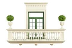 Klassisk balkongbalustrad med fönstret Royaltyfria Bilder