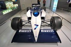 Klassisk BMW F1 bil på skärm i BMW museet Arkivfoton