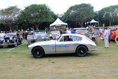 Klassisk brittisk sportbilkörning på gräs Fotografering för Bildbyråer