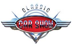 Klassisk Car Show Logo Chrome royaltyfri fotografi