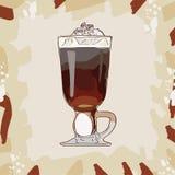 Klassisk coctailillustration för irländskt kräm- kaffe Utdragen vektor för alkoholiserad stångdrinkhand Popkonst royaltyfri illustrationer