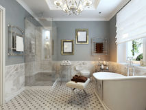 Klassisk design för ljust badrum Royaltyfria Bilder