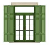 Klassisk fönsterbalkong med slutaren Fotografering för Bildbyråer