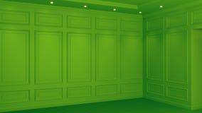 Klassisk grön inre bosatt tolkning för studiomodell 3D Tomt rum f?r din montage Copyspace vektor illustrationer