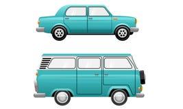 Klassisk illustration för minivan för Oldiestappningbil Arkivfoton