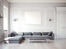 Klassisk inre med den stora gråa soffan framförande 3d Fotografering för Bildbyråer