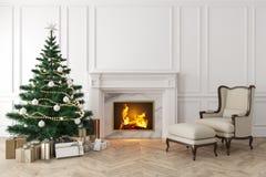 Klassisk inre med julträdet, spis, vardagsrumfåtölj stock illustrationer