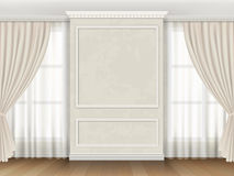 Klassisk inre med panelstöpningar och fönstergardiner Royaltyfria Bilder