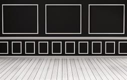 Klassisk inre, vitt wood golv och svartvägg, framförd 3d Arkivfoto