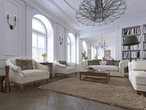 klassisk interior Soffa stolar, sidetables med lampor, tabell med dekoren Vita väggar med stöpningar Golvparkettfiskbensmönster,  stock illustrationer