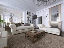 klassisk interior Soffa stolar, sidetables med lampor, tabell med dekoren Vita väggar med stöpningar Golvparkettfiskbensmönster,  royaltyfri illustrationer