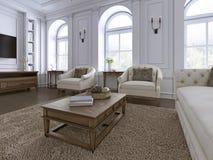 klassisk interior Soffa stolar, sidetables med lampor, tabell med dekoren Vita väggar med stöpningar Golvparkettfiskbensmönster,  vektor illustrationer