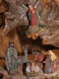 Klassisk julkrubba med Jesus, Joseph och Mary 4 Arkivbilder