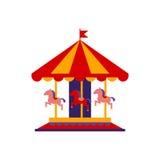Klassisk karusell med hästar Arkivfoto