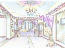 klassisk korridorinteriorrestaurang Arkivbild