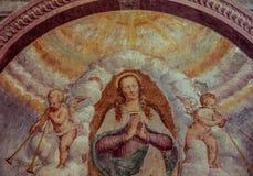 Klassisk kristen freskomålning i en kyrka royaltyfri fotografi