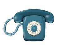 Klassisk landlinje roterande telefon på den vita vektorn Arkivbild