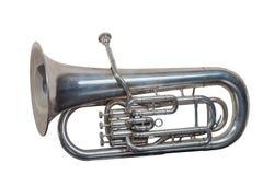 Klassisk musikmässingsinstrumenteufonium som isoleras på vit bakgrund arkivfoton