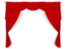 Klassisk röd och vit gardin stock illustrationer
