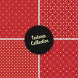 Klassisk röd texturerad polka Dot Seamless Different Patterns Royaltyfria Foton