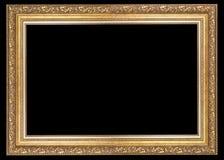 Klassisk ram för målningar med stuckaturen på en svart bakgrund arkivfoto