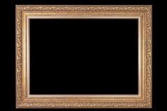 Klassisk ram för målningar med stuckaturen på en svart bakgrund arkivfoton