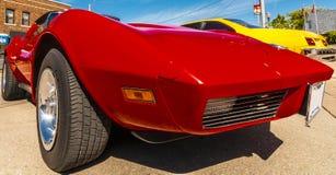 Klassisk röd sportbil Fotografering för Bildbyråer