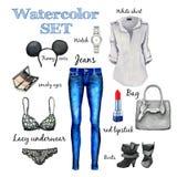 Klassisk samling för vattenfärghöst, modestil, objekt av kläder och tillbehör, jeans, skjorta, påse, kängor, klocka, underkläder Arkivfoton