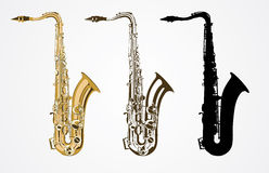 Klassisk saxofon  royaltyfri illustrationer