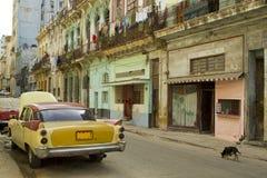 Klassisk senapsgult bil i kubansk gata Arkivfoton