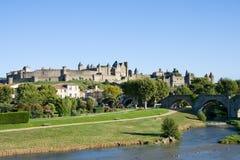 Klassisk sikt av Carcassonne Arkivbilder