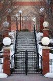 Klassisk Snow räknade trappa- och lamppelare royaltyfri bild