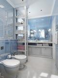 Klassisk stil för badrum i blåa signaler royaltyfri bild