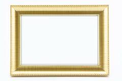 Klassisk tappning förgylld ram på vit bakgrund Fotografering för Bildbyråer