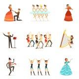 Klassisk teater och konstnärlig uppsättning för sceniska kapaciteter av illustrationer med opera-, balett- och dramaaktörer på stock illustrationer