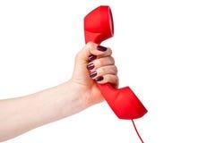 Klassisk telefonmottagare i hand Royaltyfri Bild