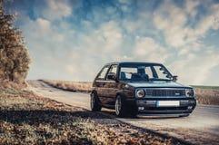 Klassisk tysk bil, Volkswagen Golf Arkivfoto