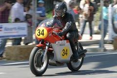 klassisk utställningmalaga motorcykel royaltyfri bild