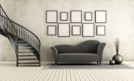 Klassisk vardagsrum med den runda trappuppgången Fotografering för Bildbyråer