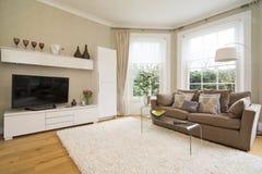 Klassisk vardagsrum med flott soffasäng för två seater, plasmatv a royaltyfri bild
