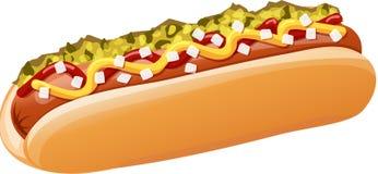Klassisk varmkorv med ketchup, senap, lökar, njutning stock illustrationer