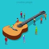 Klassisk vektor för fan för show för musik för gitarrlägenhet 3d isometry Arkivbild