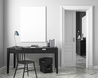 Klassisk vit åtlöje för inre för arbetsställe upp med tabellen, stol, dörr illustrationen 3d framför stock illustrationer
