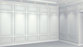 Klassisk vit inre med kopieringsutrymme R?da v?ggar med den klassiska dekoren Golvparkettfiskbensm?nster framf?rande 3d royaltyfri illustrationer