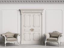 Klassiska barocka fåtöljer i klassisk inre Väggar med stöpningar och den dekorerade kornischen stock illustrationer