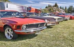 Klassiska bilar på bilshowen Arkivfoto